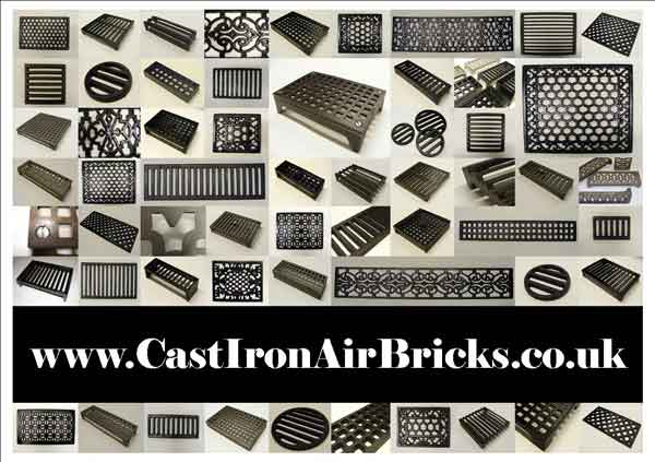 Cast Iron Air Bricks Period Heavy Duty Louvre Hit And